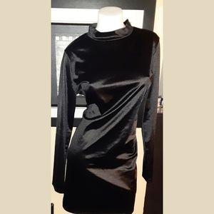 Black sateen long sleeve dress